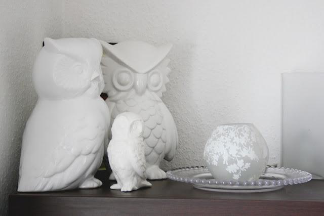Sammelherz |weiße Eulen aus Keramik || mimizukudesign.blogspot.com
