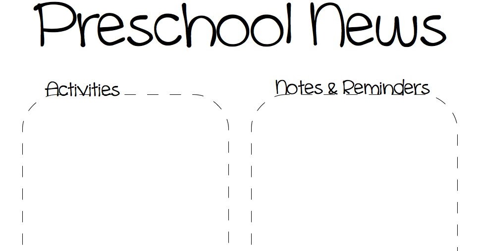 The Crafty Teacher: Spring Preschool Newsletter Template