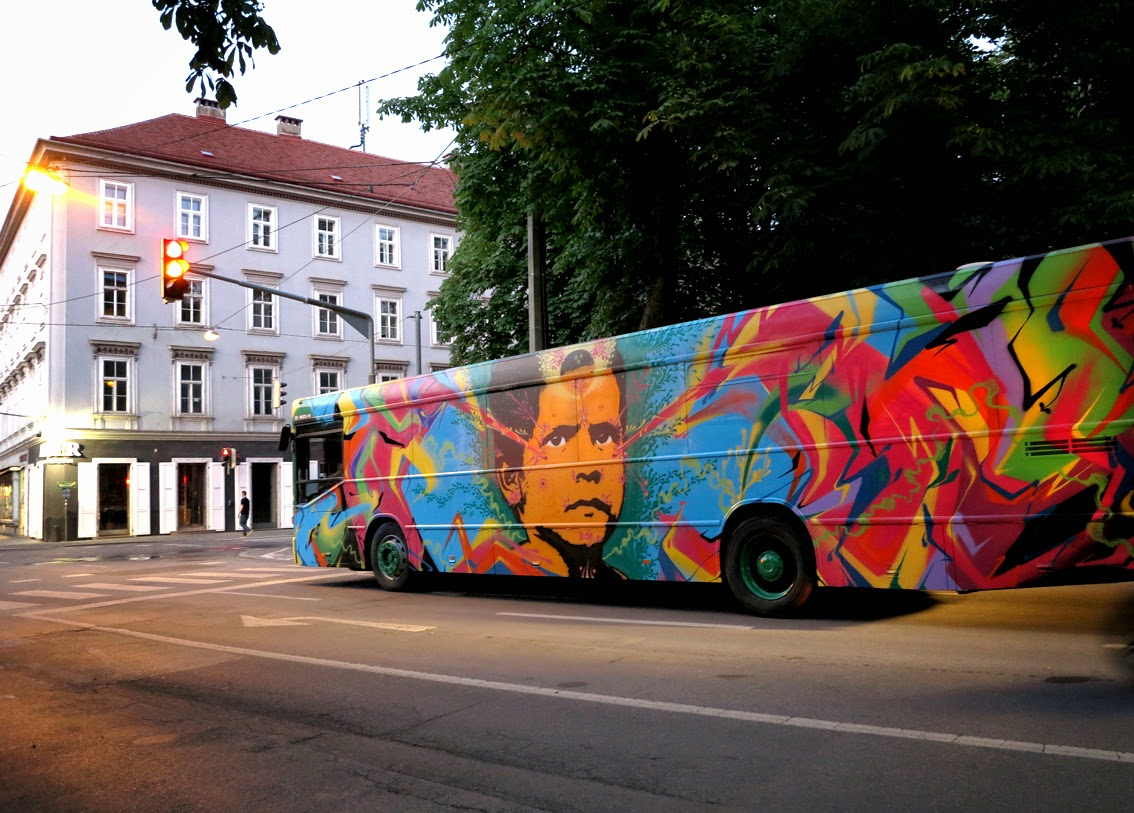 Last seen in Sweden earlier this month, Stinkfish has now reached the lovely city in Graz, Austria where he was invited to paint for the Living Streets Festival.