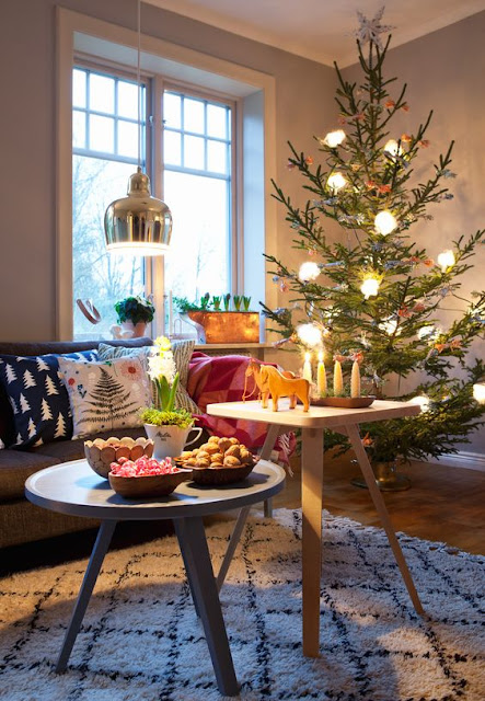 Swedish Farmhouse Christmas Decorating Interior Design colorful