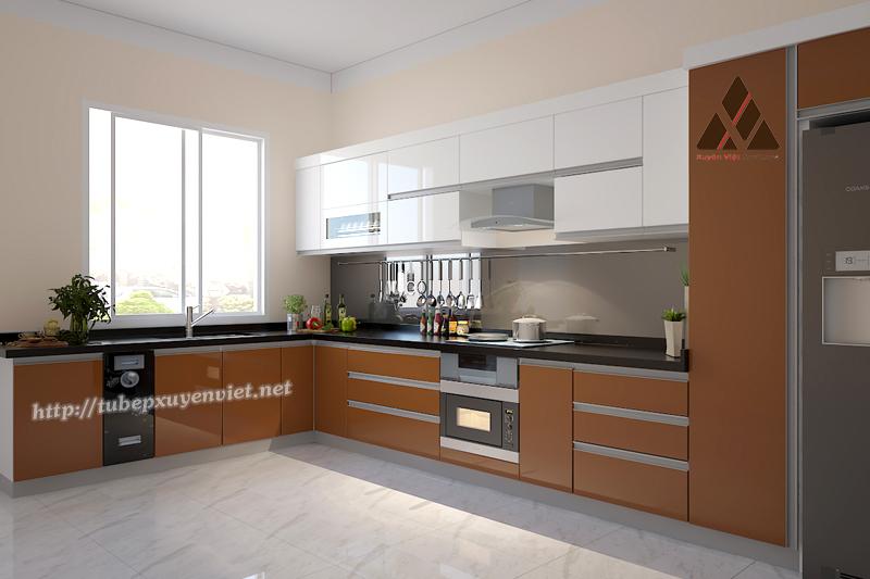 Tủ bếp đẹp làm bằng nhựa pvc cao cấp Xuyên Việt