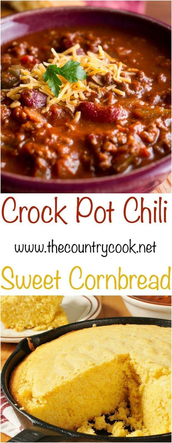 Crock Pot Chili & Sweet Cornbread