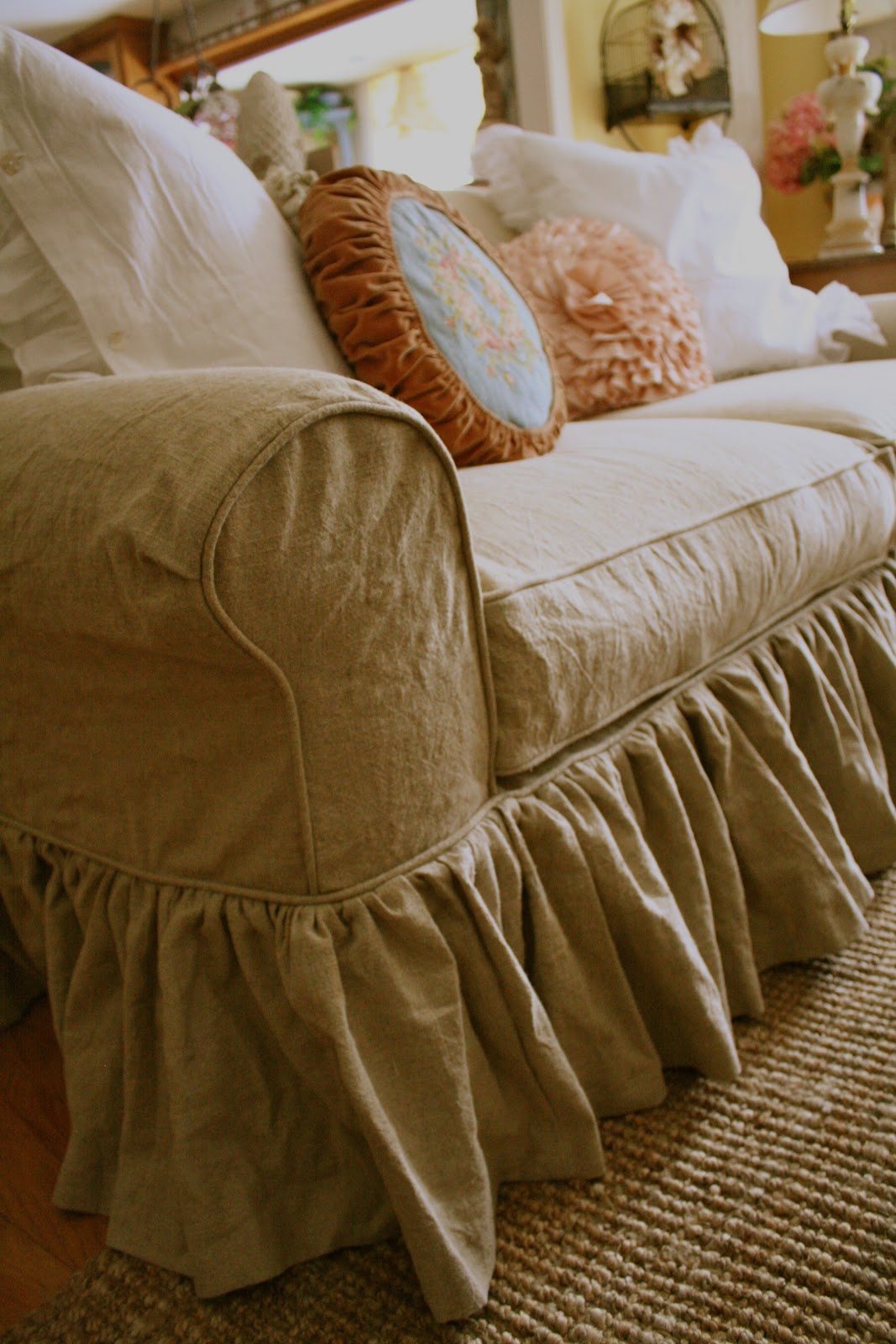 Custom Slipcovers By Shelley Lorraines Tan Linen Couch