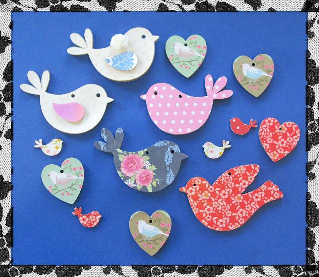 Pixscan cut mdf bird and heart paper cuts by Hilary Milne