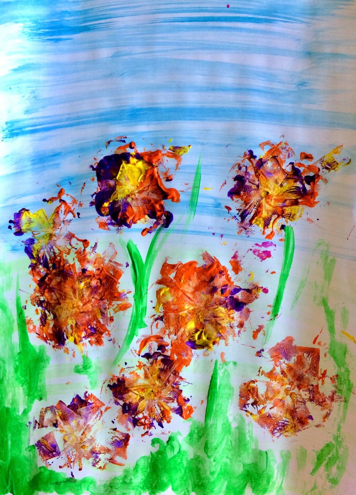 Crizanteme - ștampilare