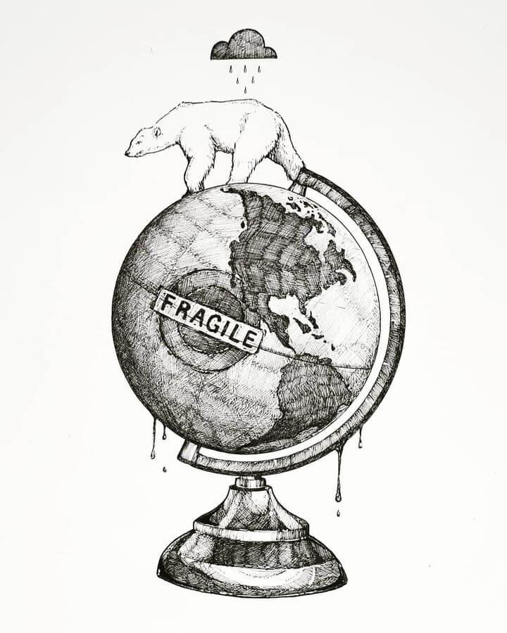 01-The-plight-of-the-Polar-Bear-Juan-Velilla-Drawings-www-designstack-co