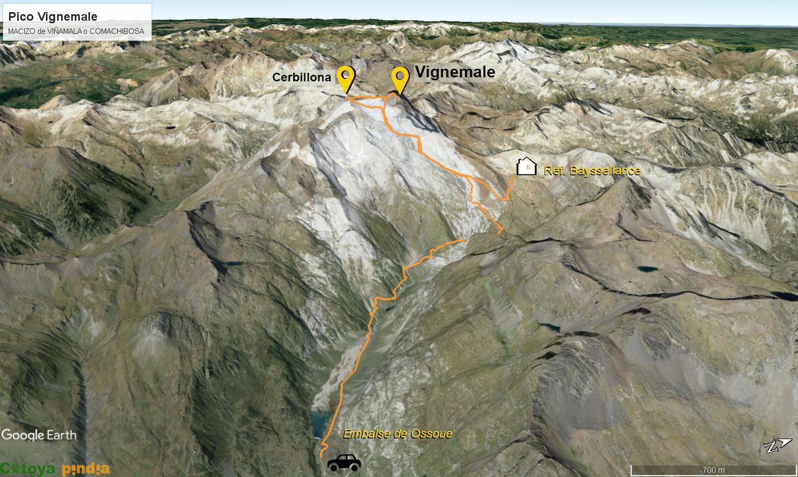 Mapa 3D de la ruta al pico Vignemale. Rutas en Pirineos