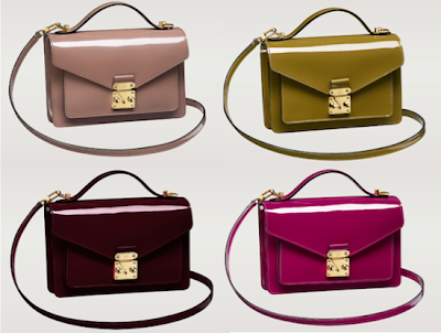 Louis Vuitton Monceau BB Vernis in Rose Velours (pale pink), Vert (olive green), Amarante (dark maroon), and Rose Indiennes (fuchsia)