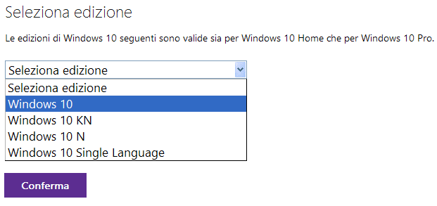 Download ISO Windows 10 seleziona edizione