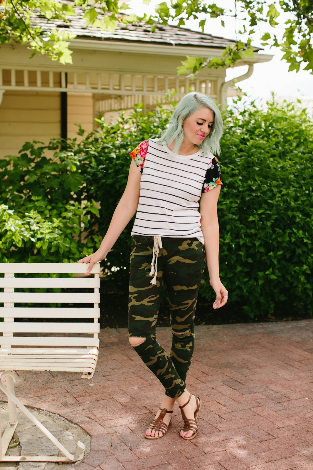 Camo pants, floral and stripes, fashion blogger