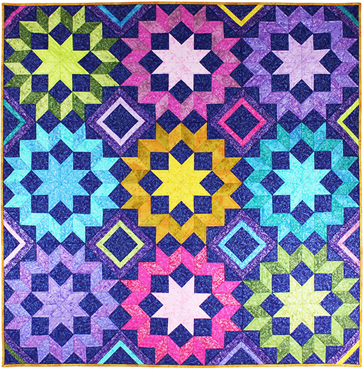 Star Frost Quilt Free Pattern designed by Marsha Evans Moore for Michael Miller Fabrics,