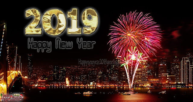 Happy New Year 2019 Fireworks Desktop Background 1080p HD
