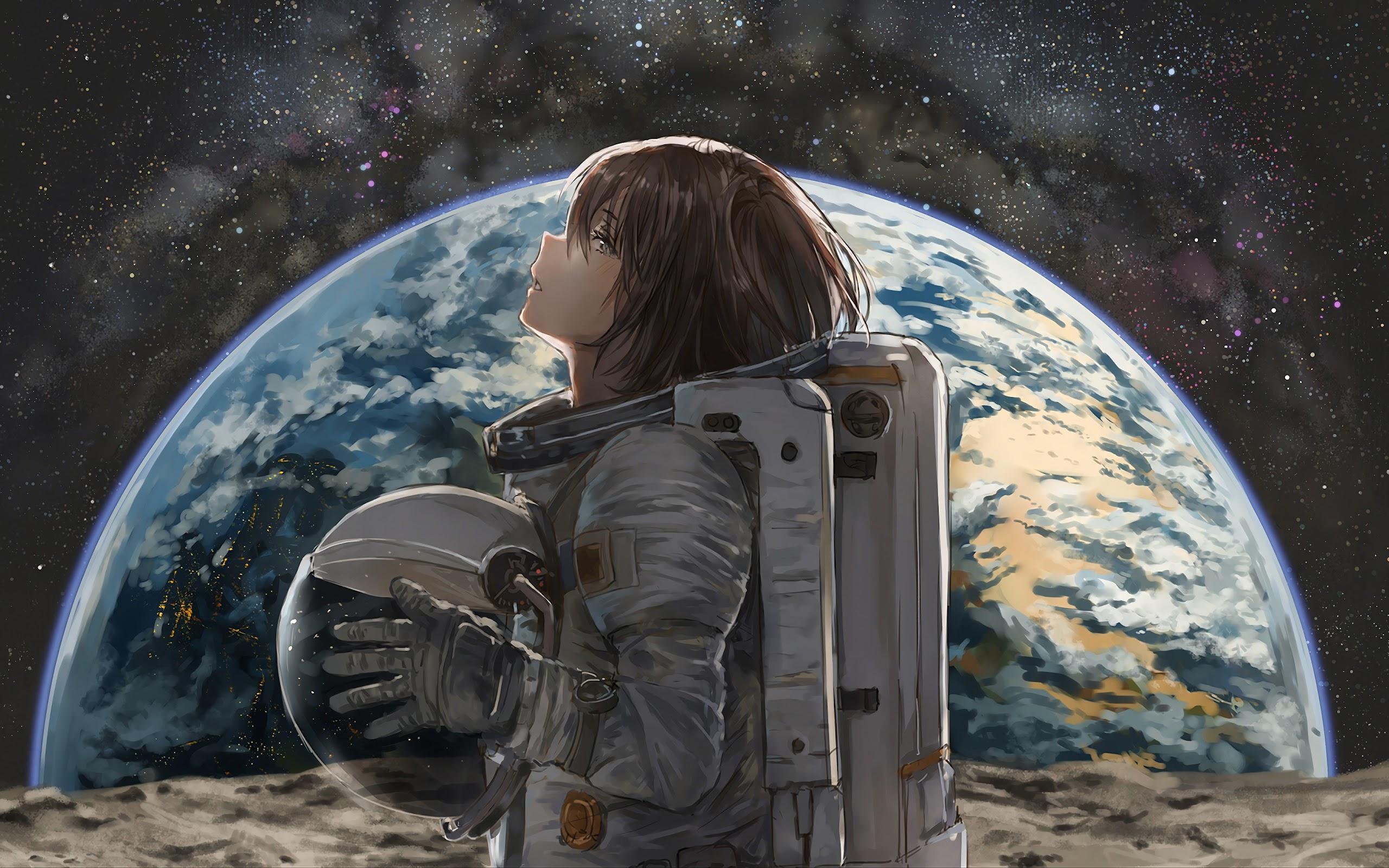 Space Astronaut Anime Girl Earth 4k Wallpaper 19