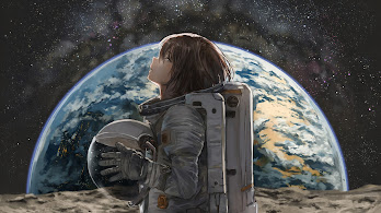 Space, Astronaut, Anime, Girl, Earth, 4K, 3840x2160, #19
