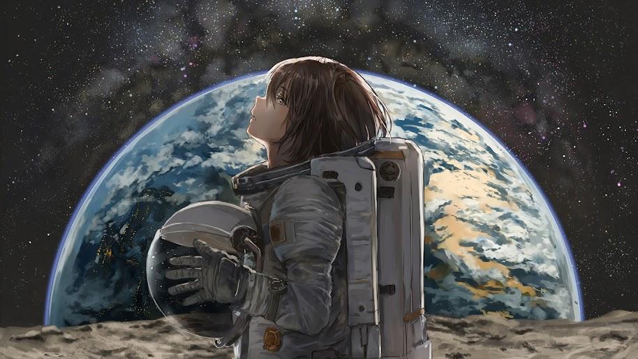 Space, Astronaut, Anime, Girl, Earth, 4K, 3840x2160, #19