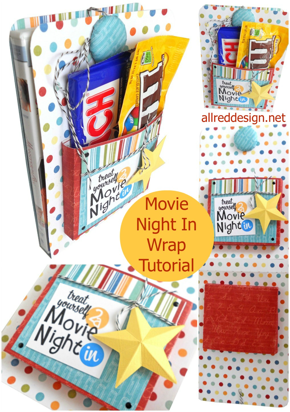 creative gift wrap idea movie night dvd wrap tutorial. Black Bedroom Furniture Sets. Home Design Ideas