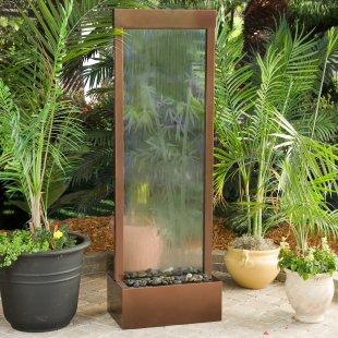 air mancur taman: air mancur kaca dengan ornamen bambu