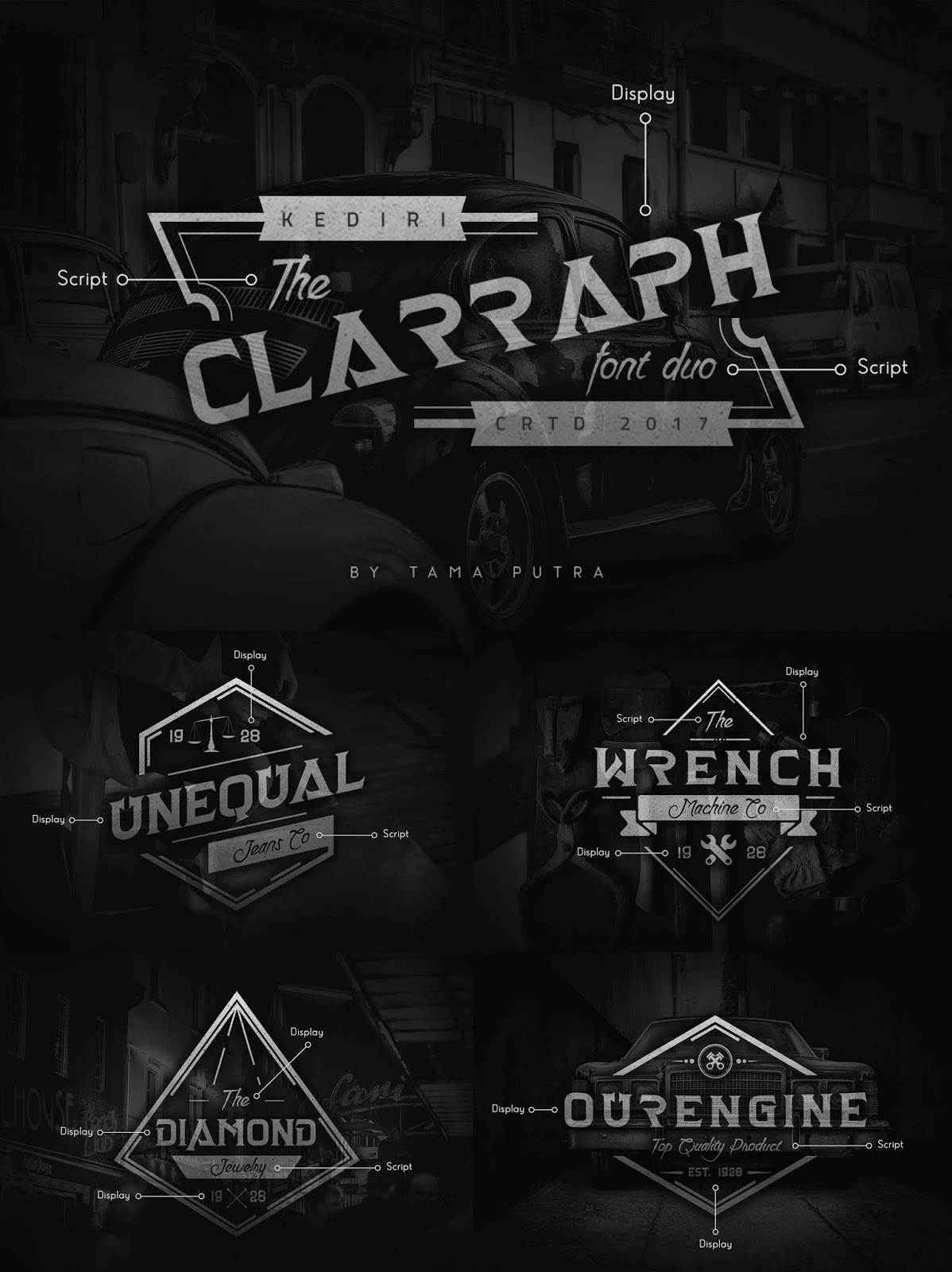 font, typeface, clarraph, display, handwritten, script, serif, decorative, badge, insignia