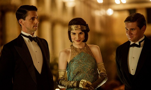 Matthew Goode, Michelle Dockery y Allen Leech en Downton Abbey (ITV).