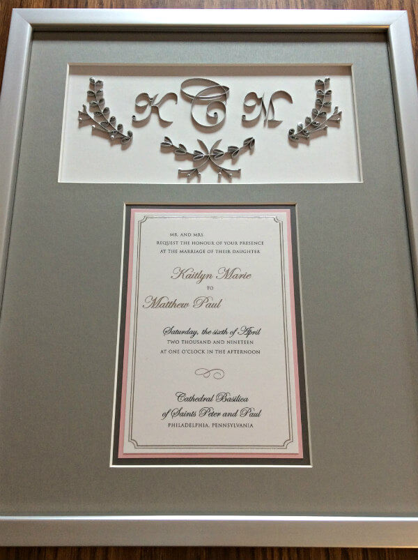 framed wedding invitation with quilled gray and silver monogram