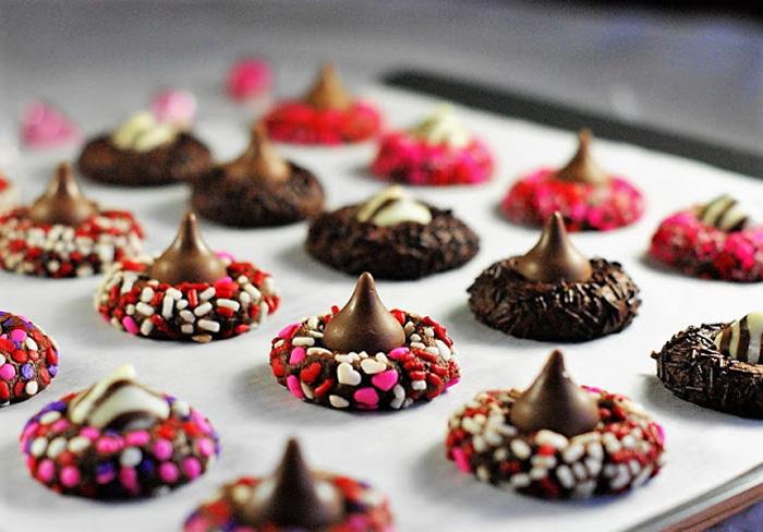 Chocolate Valentine Kiss Cookies