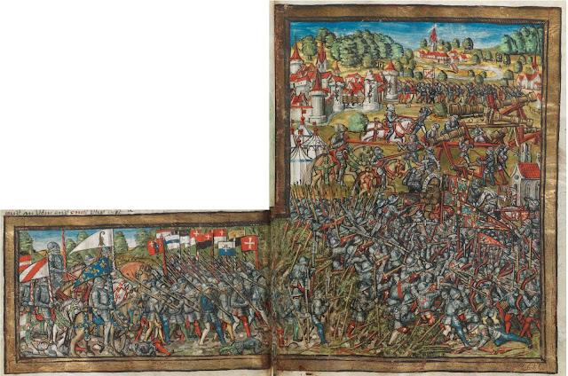 """La bataille de Nancy  Enluminure tirée de """"La Chronique de Lucerne"""" (1511-1513)   écrite par le chroniqueur Diebold Schilling der Jüngere (1460-1515)  (Bibliothèque Centrale de Lucerne)"""