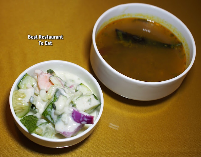 Royal Darbar Restaurant Buffet Rasam and Raita