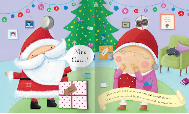 Inside the Jingle Bell Christmas book with Santa and Mrs Claus