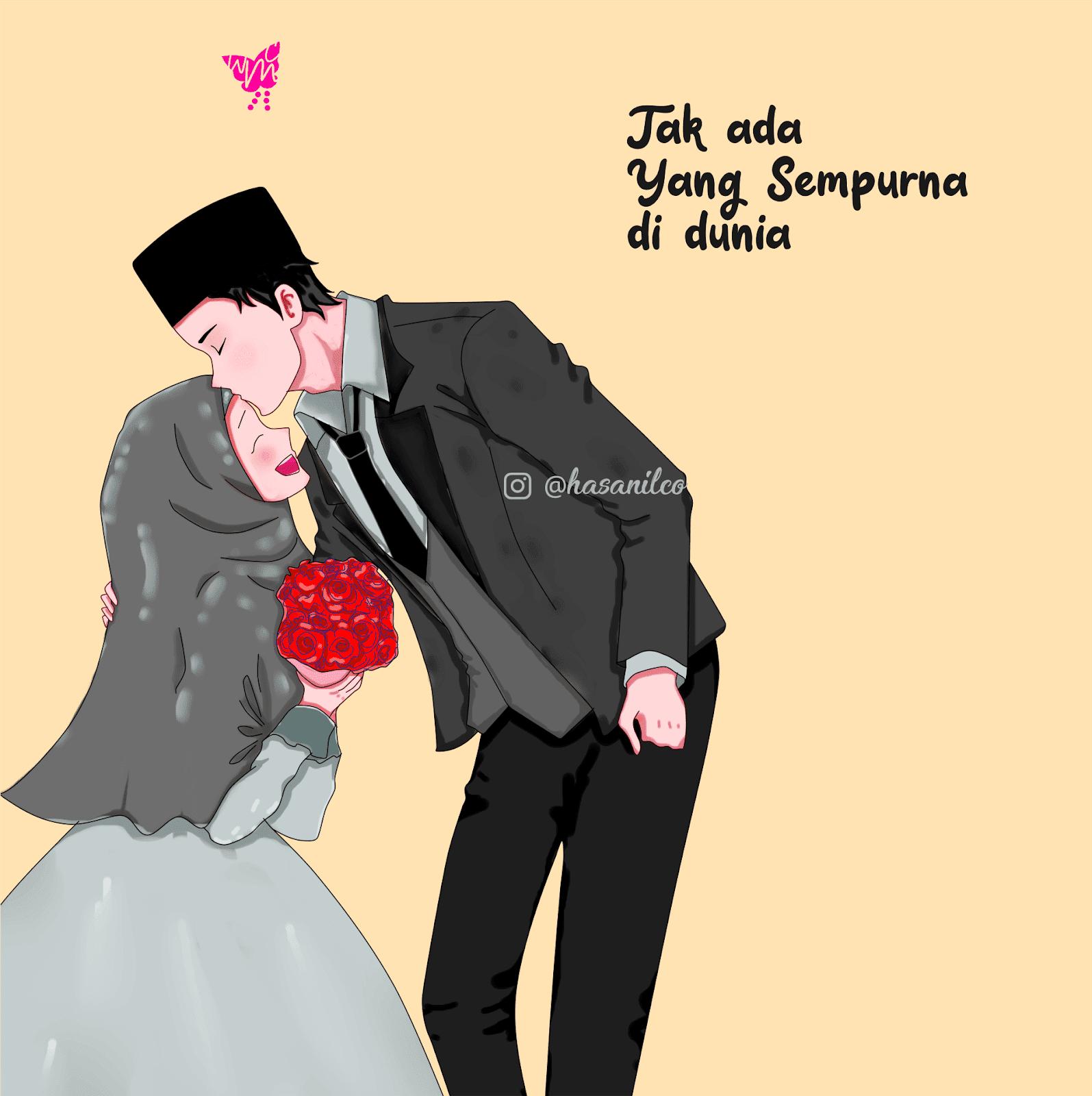 0003 Wallpaper Muslim Muslimah Cartoon Wedding Couple Perfect