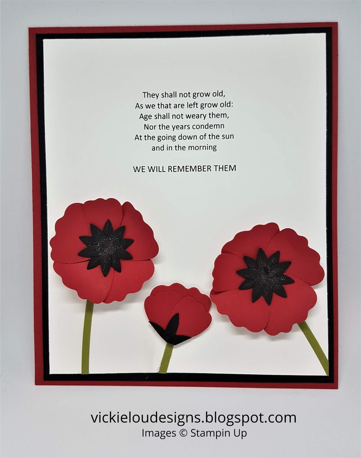 vickie lou designs remembrance day poppy quote using stampin up
