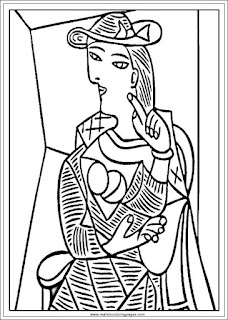 seated woman pablo picasso art coloring pages printable