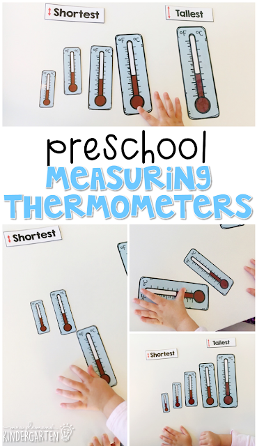 Introduce the concept of measuring length by putting these thermometers in order from shortest to tallest.  Perfect for a weather theme in tot school, preschool, or even kindergarten!
