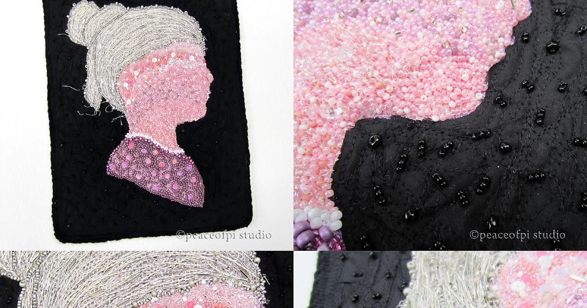 peaceofpi studio: Hand Beaded Art Quilt Face Silhouette