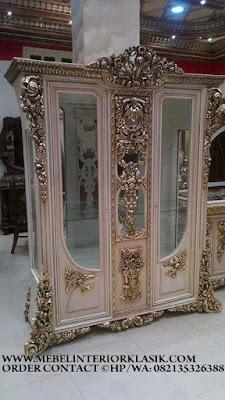 Furniture klasik jakarta,Mebel almari hias jati ukiran jepara desain eropa Classic Mewah.code AA108