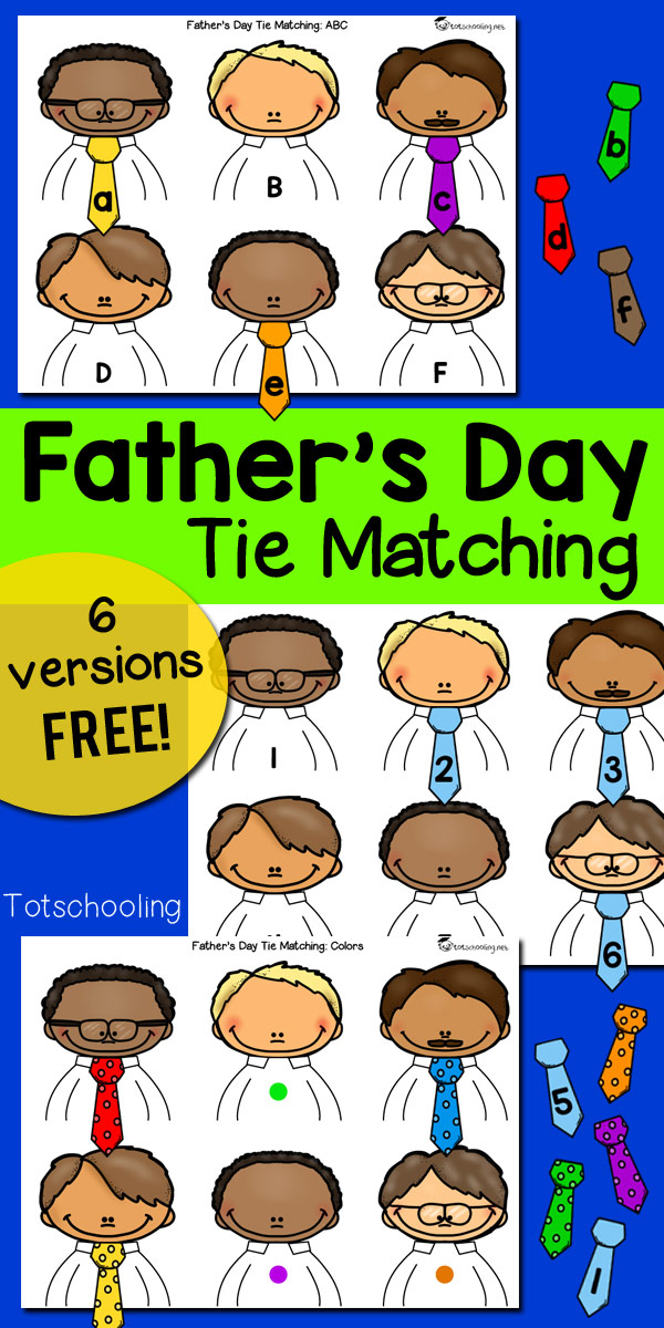 FREE printable learning games with a Father's Day theme for kids to practice the alphabet, numbers, colors, color words and number words. Perfect for toddlers, preschool and kindergarten kids!