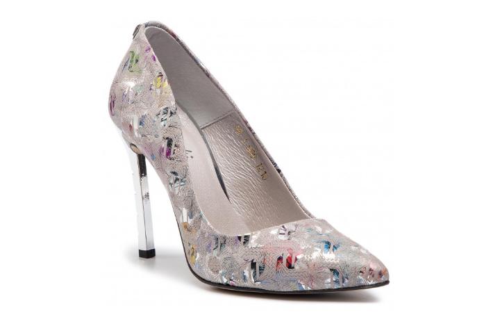 Pantofi din piele eleganti gri cu imprimeuri argintii pentru evenimente