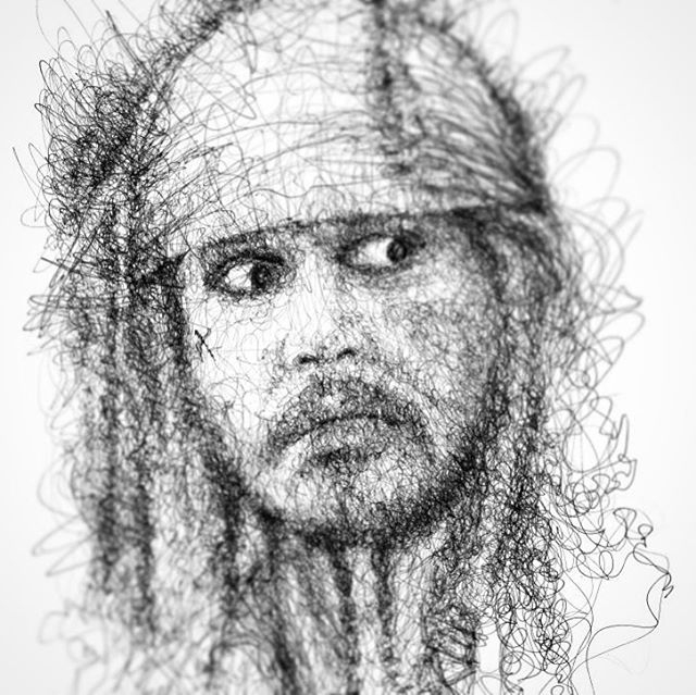 14-Johnny-Depp-Pirates-Of-The-Caribbean-Erick-Centeno-Superheroes-Celebrities-and-Cartoons-Scribble-Drawings-www-designstack-co