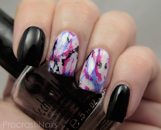 Nail art with Sinful Colors Boom Boom, Sinful Colors Sail La Vie, Sinful Colors Black on Black and China Glaze Travel in Colour