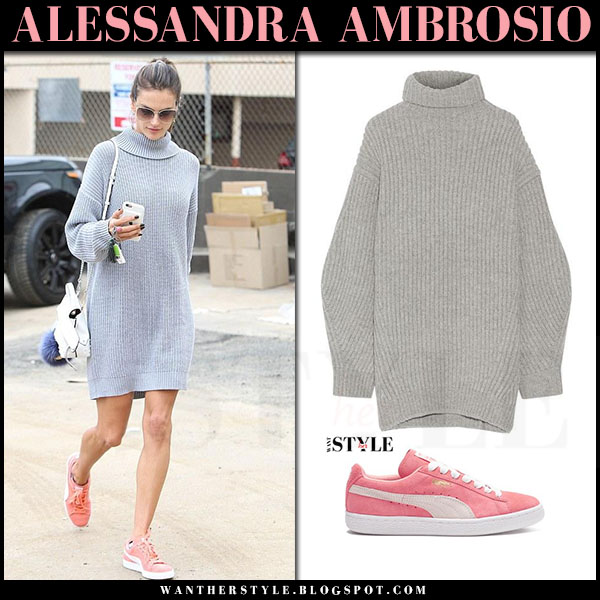 Alessandra Ambrosio in grey knit acne isa sweater dress and coral sneakers puma what she wore
