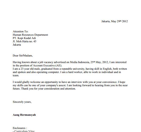 Contoh Surat Lamaran Kerja Untuk Staff Universitas Syd Thomposon 2012