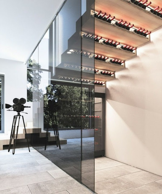 Wine Store Gradual Staircase Shelf Idea Tinted Sliding Glass Door