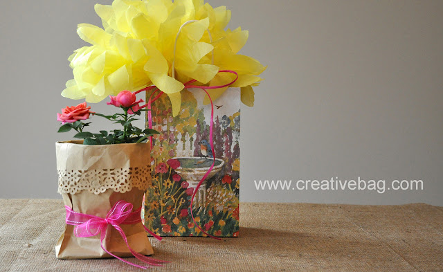 Creative Bag floral packaging ideas using paper bags