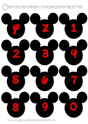 Letras y números de mickey mouse para imprimir