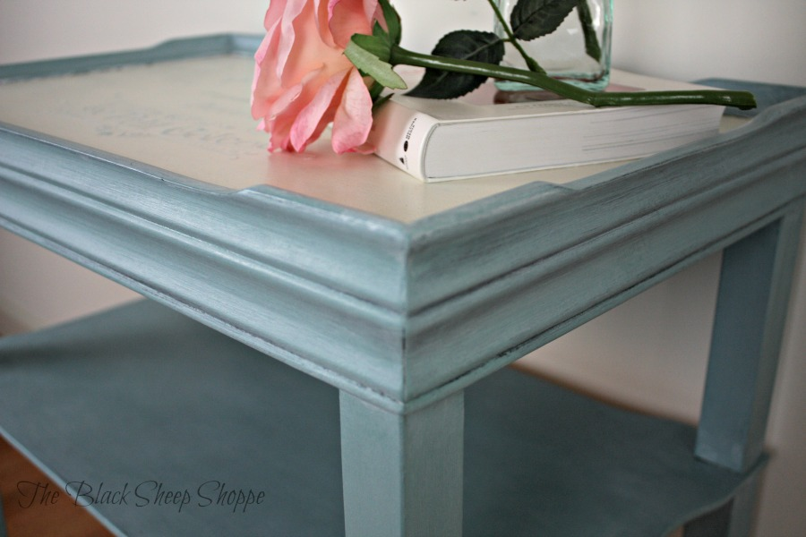Provence blue painted on side table with a stenciled top.