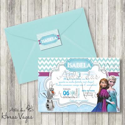 convite artesanal aniversário infantil personalizado frozen festa chá de bebê fraldas menina elsa anna olaf let go azul e branco neve envelope adesivo