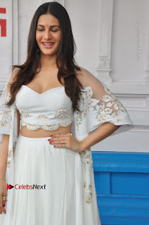 Telugu Actress Amyra Dastur Stills in White Skirt and Blouse at Anandi Indira Production LLP Production no 1 Opening 0021
