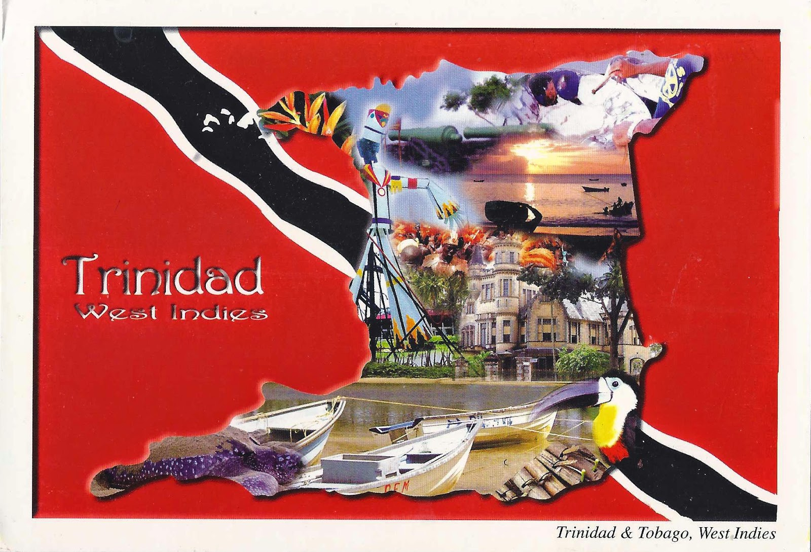 Trinidad and Tobago map and flag