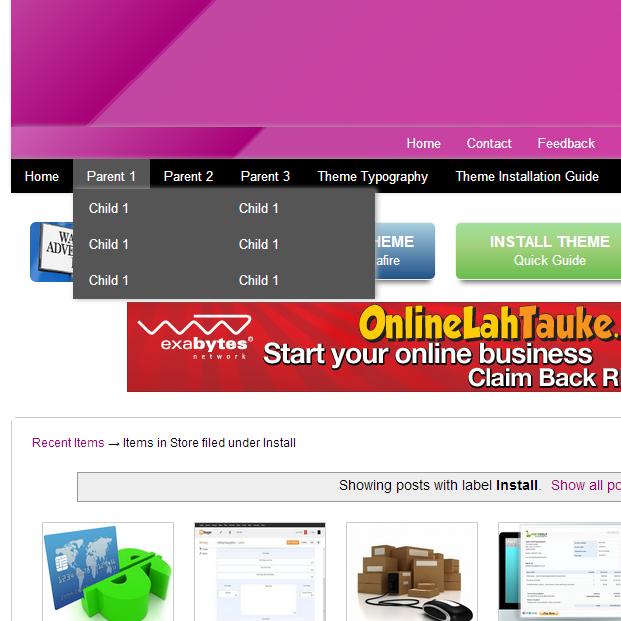 Drop down navigation Blogger store feature