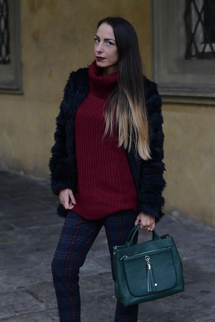maglione oversize bordeaux