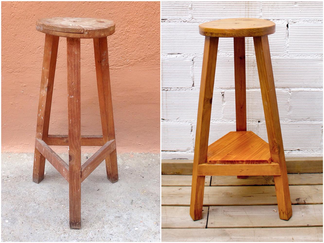 Antes y después - taburete de madera - Studio Alis
